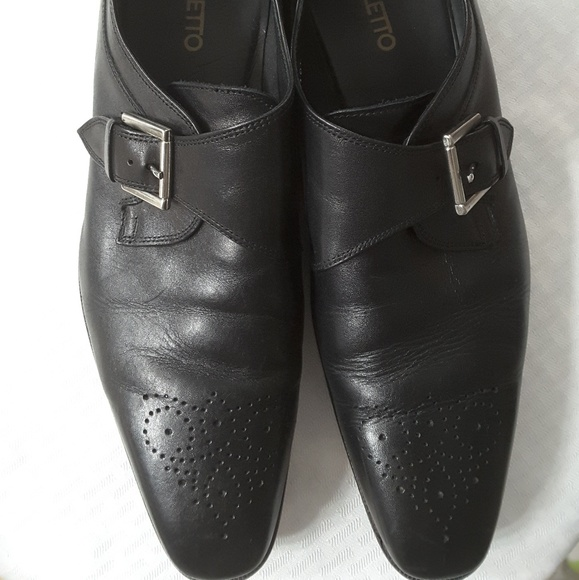 Broletto Mens Leather Monk Buckle Shoes